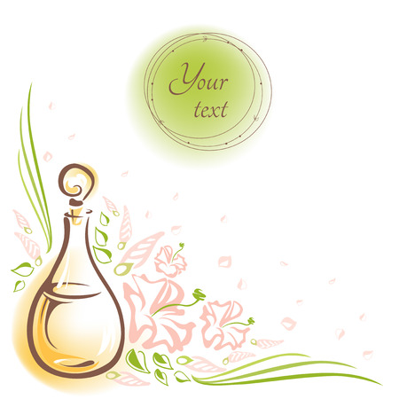 Card with glass bottle cosmetic oils, flowers, buds and leaves and round frame for the text. Essential oil bottle. Vector Vector hand-drawn illustration. Ilustração
