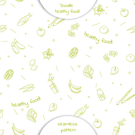 Seamless pattern with Doodle hand drawn healthy food: carrot, fish, salmon, broccoli, bell pepper, fresh, yogurt, milk, onion, lemon, Apple, eggplants isolated on white background. Vector illustration