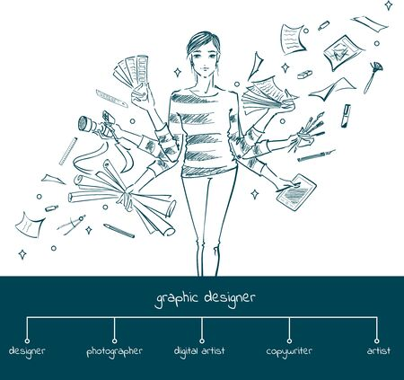 Young girl graphic designer with working tools. Hand-drawn sketch style concept of  multitasking profession graphic designer. Vector illustration of photography, free hand drawing, select colors, digital drawing. Ilustração