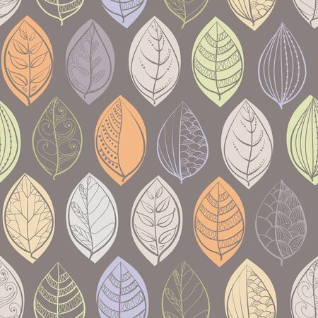 A seamless pattern with doodle leaves on gray background. Set of doodle leaves. Textile print. Hand-drawn  vector illustration in doodle style.