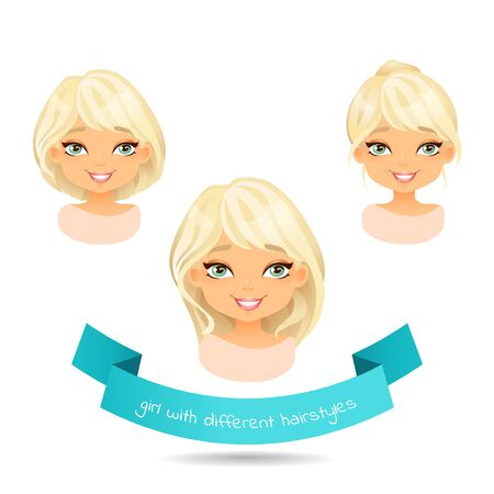 Cute smiling blonde with different hairstyles. Set of different hairstylesof a girl: long hair, bob, tail. Cartoon girl with different hairstyles. Vector illustration isolate on white