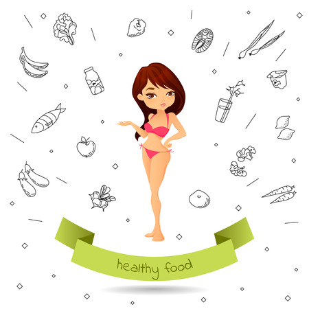 Thin girl in a swimsuit is a healthy lifestyle on the background of the Doodle healthy food. Cartoon woman points on healthy food and perfect shape demonstrates. Concept vector illustration