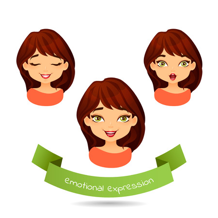 Cute green-eyed brunette with different facial expressions. Set of different emotion: smile, laugh, surprise. Cartoon girl with different expressions of emotion. Vector illustration isolate on white. Ilustração