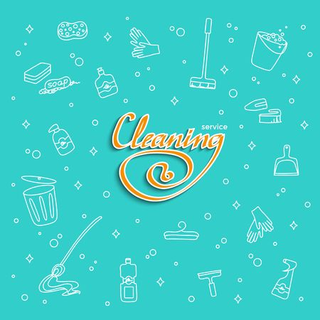 The set of means for cleaning the lettering Cleaning service. Banner with Doodle cleaning: gloves, MOP, trash bucket, detergent, dustpan. Hand-drawn vector illustration isolated on white background.