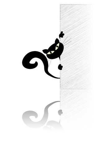 cat tail: Black cat watching out of the wall Illustration