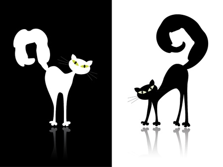 Black and white cat Stock Vector - 10408300
