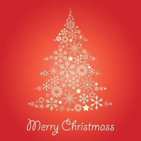 christmass: Tarjeta de Navidad con el �rbol de copos de nieve
