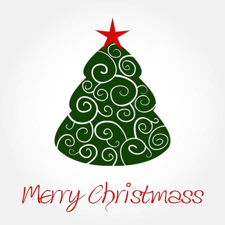 christmass: Elegante �rbol de Navidad con el Estrella Roja en la parte superior Vectores