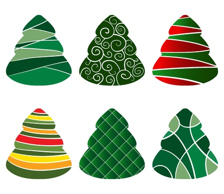 Set of beautiful designed christmass trees Stock Vector - 10408302