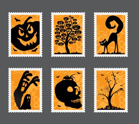 Collection of Halloween stamps with different motives Vector