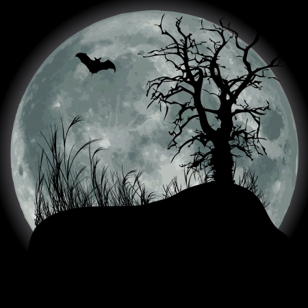 Scary fullmoon scene with bat and tree Stock Vector - 10408325