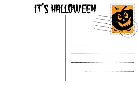 Blank Halloween postcard with Halloween stamp Stock Vector - 10408308
