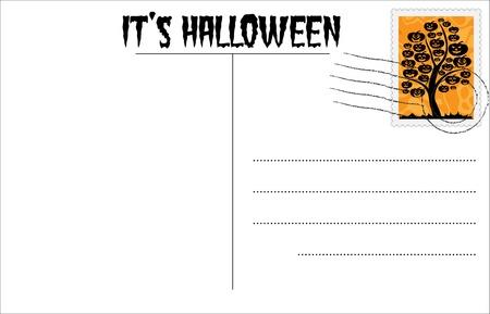Blank Halloween postcard with Halloween stamp Vector