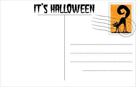Blank Halloween postcard with Halloween stamp Stock Vector - 10408309
