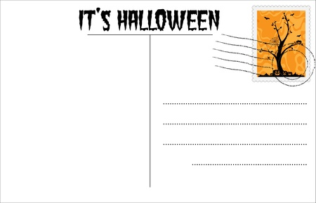 Blank Halloween postcard with Halloween stamp Stock Vector - 10408313
