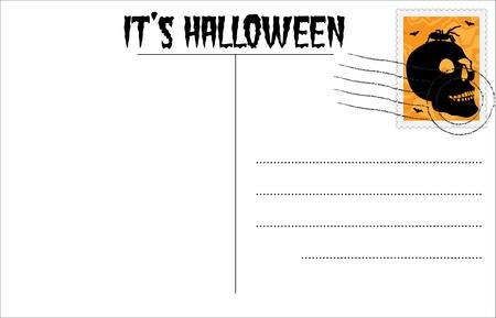 Blank Halloween postcard with Halloween stamp Stock Vector - 10408311