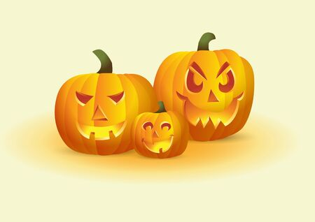 Jack-o-lantern, Halloween pumpkins with different faces Vector