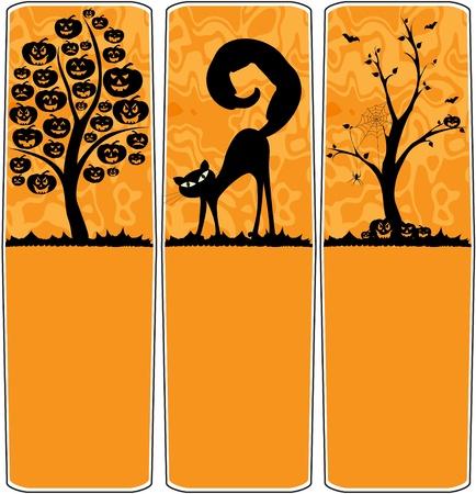 treats: Banner di Halloween con albero di zucche, gatto nero e albero nudo