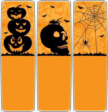 3d scary: Halloween banners with pumpkin column, skull with spider and spider web
