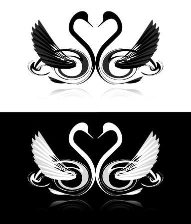 安らぎ: 黒と白の白鳥のコレクション