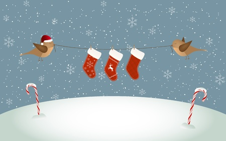 flying hat: Two birds holding Christmas socks Illustration
