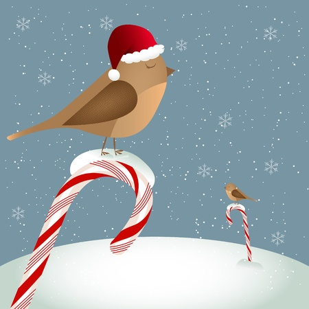 carol: Christmas card with a bird sitting on a candy cand Illustration