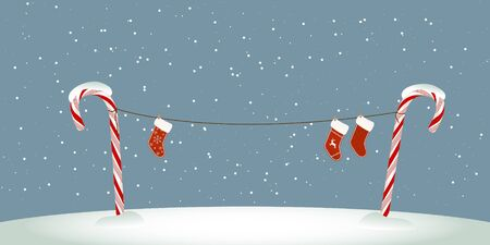 Christmas socks on clothesline Illustration