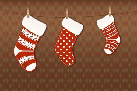 Beautiful Christmas socks on clothesline Vector