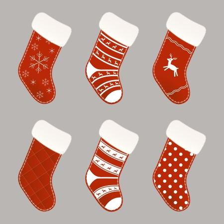 stockings: Set of red and white Christmas socks Illustration