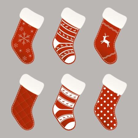 socks: Set of red and white Christmas socks Illustration