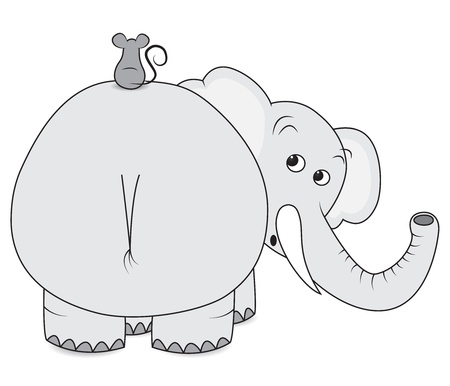 Scared elephant with little mouse on his back
