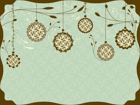 Vintage Christmas card with Christmas balls Stock Vector - 10881202