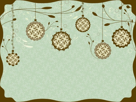 old fashioned: Vintage Christmas card with Christmas balls Illustration