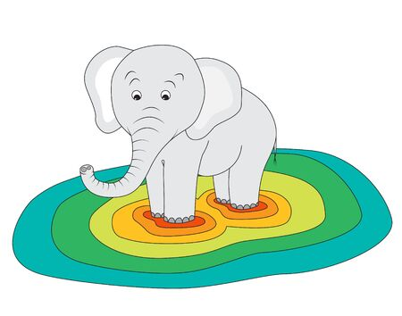 heaviness: Cute elephant standing on a colourful ground showing how heavy it is