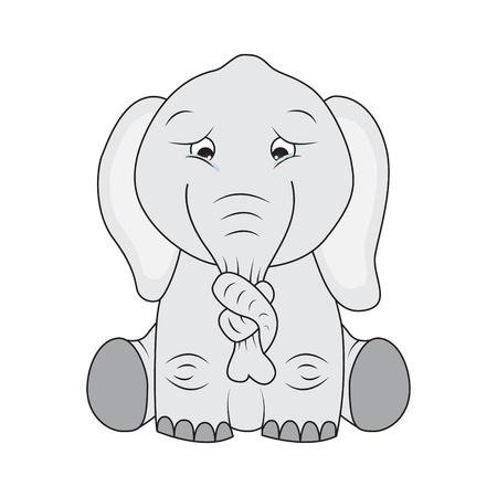 ojos llorando: Elefante triste con un nudo en la nariz Vectores
