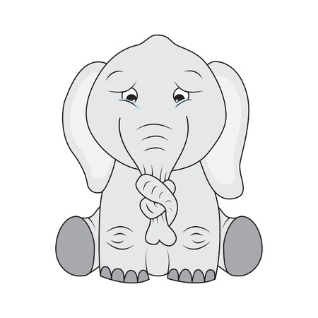 weep: Sad elephant with knot on its nose Illustration