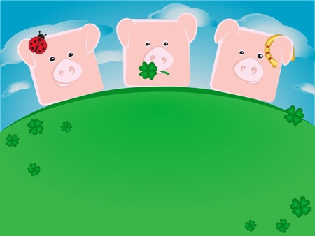 three wishes: Three lucky pigs standing on a green hill Illustration