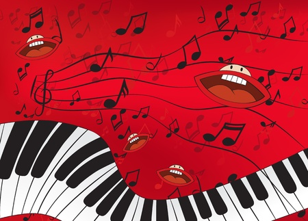 Abstract music background with a piano and singing mouths Vector