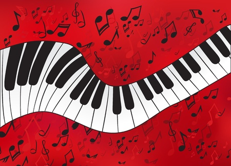 piano key: Abstact piano with scores on the background Illustration