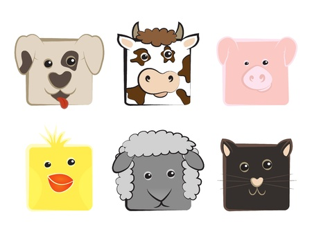 Collection of domestic animals drawn in a square Illustration