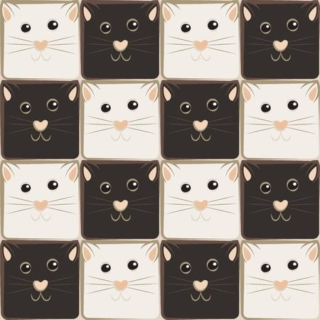 oppos: �chiquier fait de chats en noir et blanc