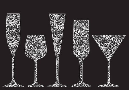 Collection of New Years glasses made of lace photo