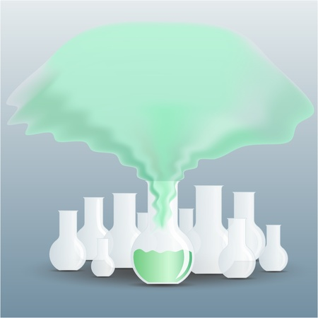 receptacle: Chemical flask full of green fluid with a vapour going up