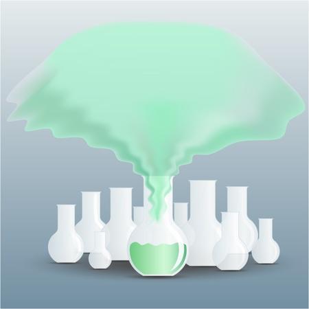 evaporacion: Frasco lleno de líquido química verde con un vapor subiendo