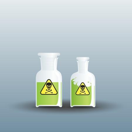 evaporacion: Dos frascos cerrados llena de veneno Vectores