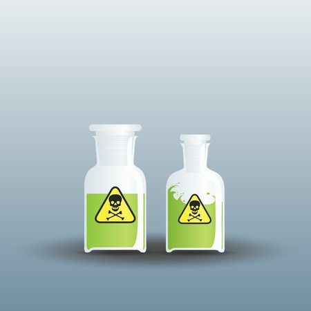 Two closed flasks full of poison Illustration