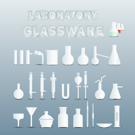 Laboratory glassware used for scientific experiments Vector