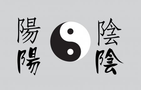 chi: Ying Yang por escrito en la escritura tradicional china Vectores