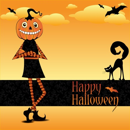 easygoing: Halloween card with black cat and pumpkin man