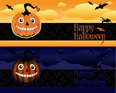 holliday: Collection of Halloween banner with pumpkins, spiders and bats